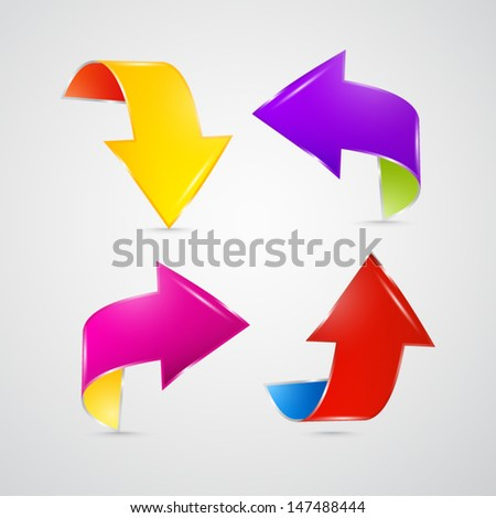 Colorful vector arrows on grey background