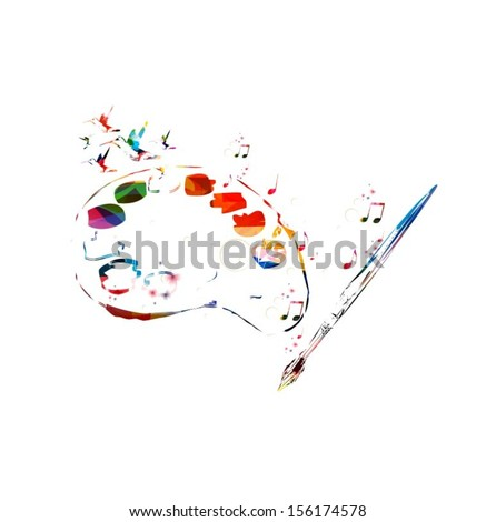 Colorful vector art palette with brush background with hummingbirds. - stock vector