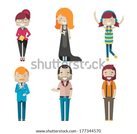 colorful vector avatars - stock vector