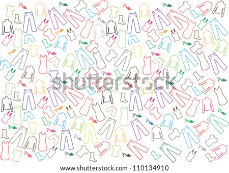 colorful vector backdrop design with many different clothes - stock vector