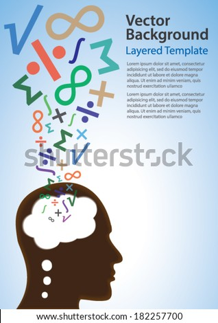 Colorful Vector Background - Math / Science Symbols coming out of a thinking head. Creative Concept for showing Ideas, Innovation, Invention, Math, Science and many other ideas. - stock vector