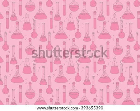 Colorful vector background with chemical glassware in hand drawn style. Colorful  background with magic potions .