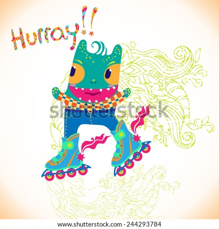 Colorful vector background with cute funny hipster  roller skating monster . Can be used for fabrics, wallpapers,  design and decoration.