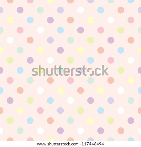 Colorful vector background with polka dots on baby pink background - retro seamless pattern or texture for desktop wallpaper, blog, www, scrapbooks, party or baby shower invitations, wedding cards. - stock vector