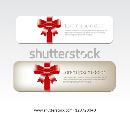 Colorful vector banners decorated with red silky ribbon bows