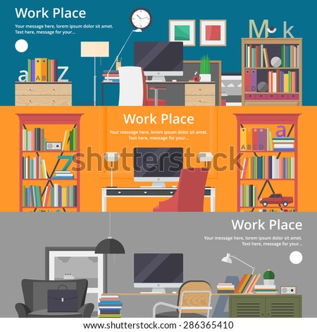 Colorful vector banners. Workplace. Workspace. Quality design illustration, elements and concept. Flat style - stock vector