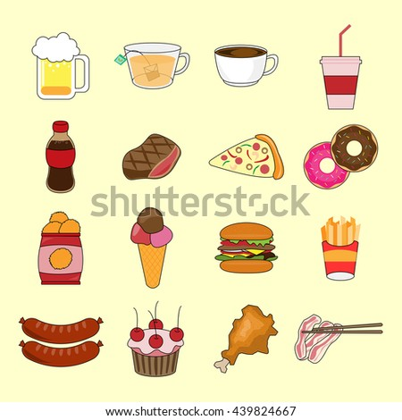 Colorful vector cartoon set of objects and symbols on the Junk food theme