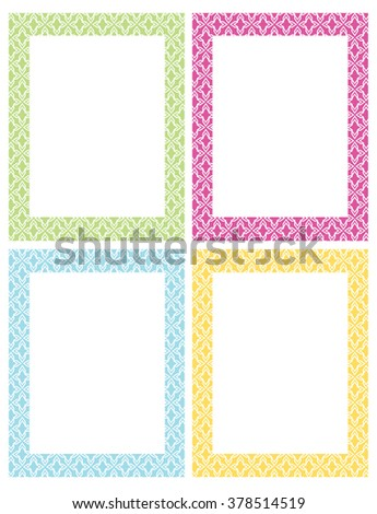 Colorful vector chevron patterned frame invitation stock vector colorful vector chevron patterned frame and invitation template set stopboris Gallery