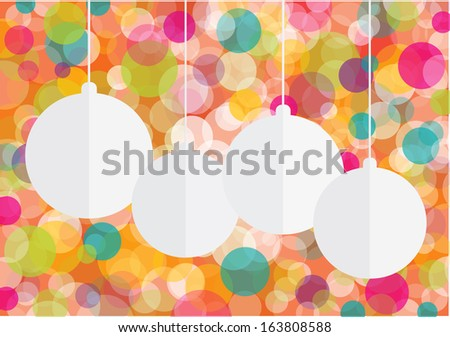 colorful vector christmas background with colorful bubbles and paper decorative balls - stock vector
