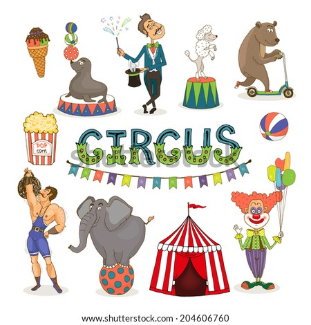 Colorful vector circus  funfair and fairground icon set with an ice cream   balancing seal  poodle and elephant  magician  bear  popcorn  strongman  big top and clown with text - Circus and bunting - stock vector