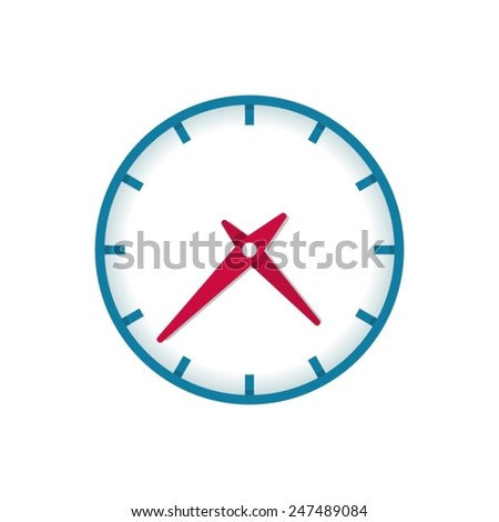 Colorful vector clock icon isolated on white background - stock vector