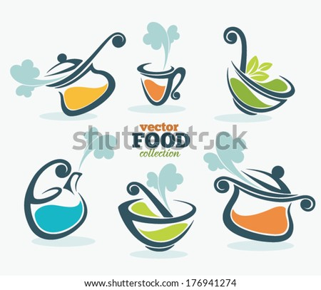 colorful vector collection of cooking equipment and food symbols - stock vector