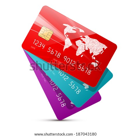 Colorful Vector Credit Cards Set Illustration Isolated on White Background - stock vector