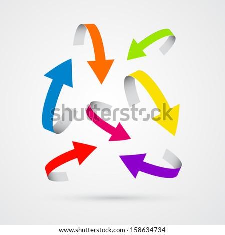 colorful vector 3d arrows  - stock vector