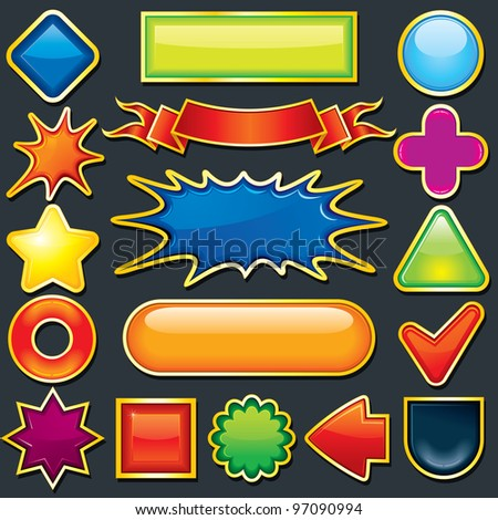 Colorful Vector Design Elements. Used as a Button, Tag, Badge, Icon Template, Label, Sale Tag, Discount Banner etc. - stock vector