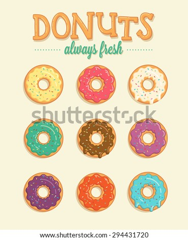 Colorful vector donuts illustrations  - stock vector