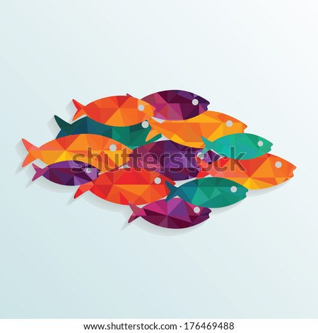 Colorful vector fishes.  - stock vector