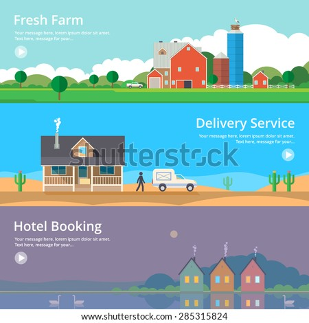 Colorful vector flat banner set. Quality design illustrations, elements and concept - Hotel booking, Delivery service, Eco farm - stock vector