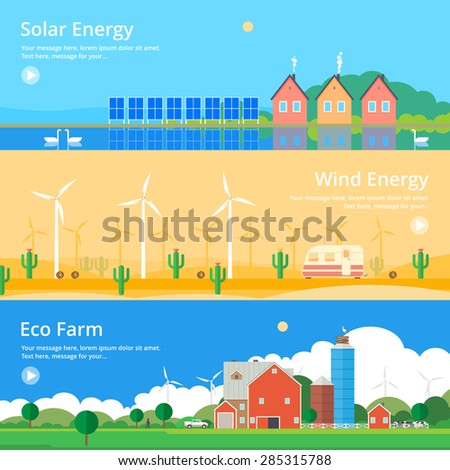 Colorful vector flat banner set. Quality design illustrations, elements and concept - Solar energy, Wind energy, Eco farm - stock vector