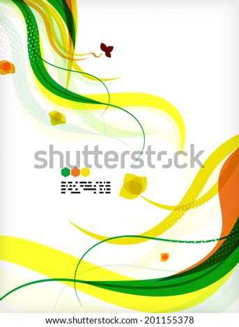 Colorful vector floral design templates with copy space. Nature backgrounds, eco business presentations presenBrochure or book cover designs