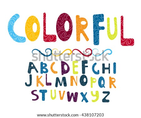 colorful vector font with doodles texture. all letters of the alphabet
