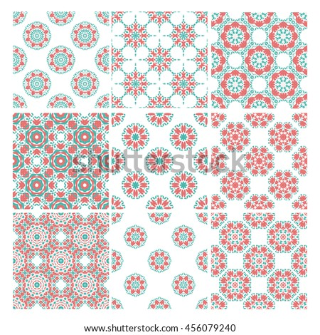 Colorful vector Geometric designs floral simple pattern.  - stock vector