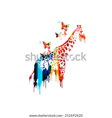 Colorful vector giraffe design - stock vector