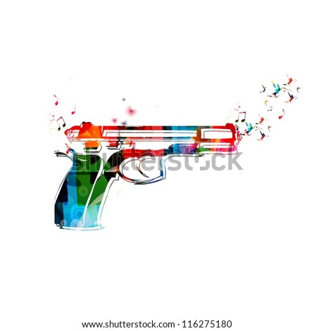 Colorful vector gun with hummingbirds