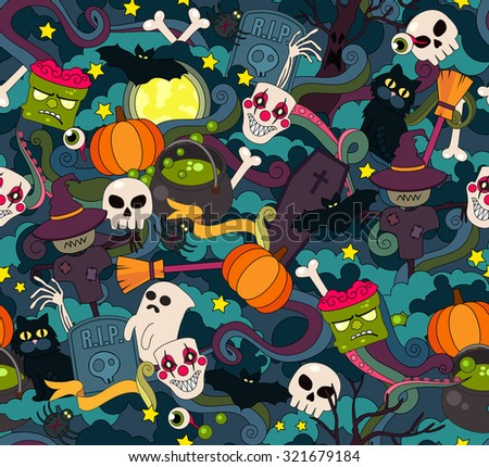 Colorful vector hand drawn Doodle cartoon seamless of objects and symbols on the Halloween theme - stock vector