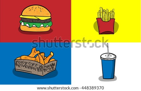 Colorful vector hand drawn Doodle cartoon set of objects and symbols on the fast food theme. Hamburger French fried Fried chicken and Soda vector illustration.