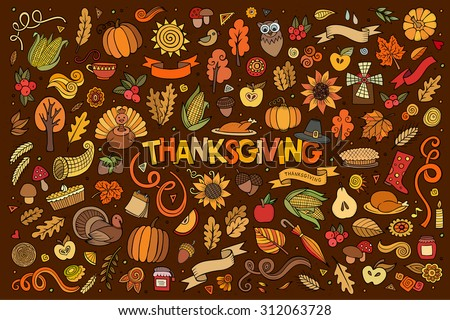 Colorful vector hand drawn Doodle cartoon set of objects and symbols on the Thanksgiving autumn theme - stock vector