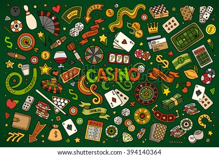 Colorful vector hand drawn doodles cartoon set of Casino objects and symbols - stock vector