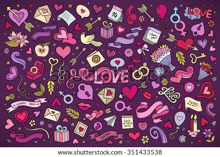 Colorful vector hand drawn doodles cartoon set of Love and Valentine's Day objects and symbols - stock vector