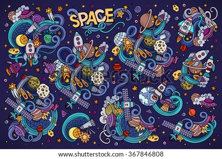 Colorful vector hand drawn doodles cartoon set of Space objects and symbols - stock vector