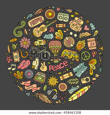 Colorful vector hand drawn set of Hippie cartoon doodle objects, symbols and items. Round composition - stock vector