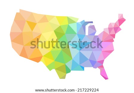 Colorful vector hand illustrated map of United States.