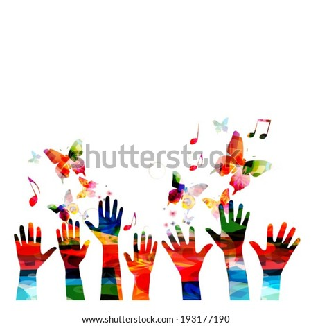 Colorful vector hands background with butterflies - stock vector