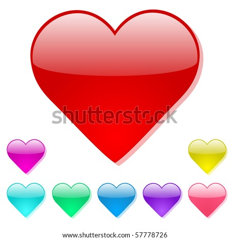 Colorful Vector Heart Icons - stock vector