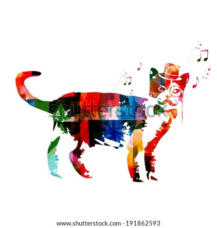 Colorful Vector Hipster Cat Background
