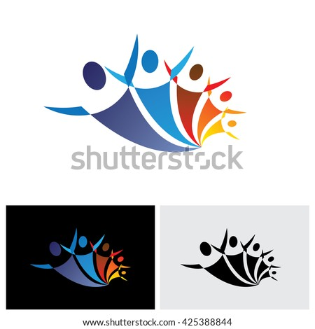 colorful vector icon of people together being positive and happy. the graphic represents symbols or signs of people as a community or friends or social network - stock vector
