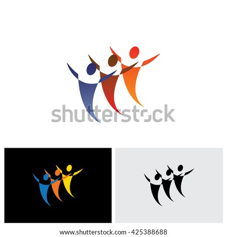 colorful vector icons of people together celebrating. The graphic represents symbols or signs of people at office, or friends together, or children playing, dancers dancing, sports people, etc