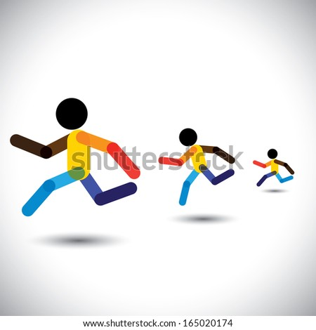 colorful vector icons of sprint athletes racing in a competition. This abstract graphic can also represent person winning the challenge, cardio workouts, health training, running marathon, etc - stock vector