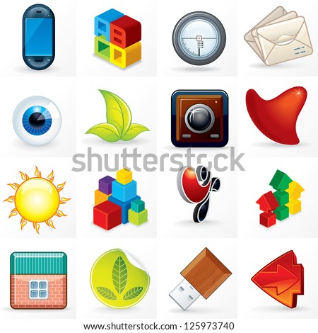 Colorful Vector Icons, Symbols or Logos. Set of Abstract Business Design Elements - stock vector