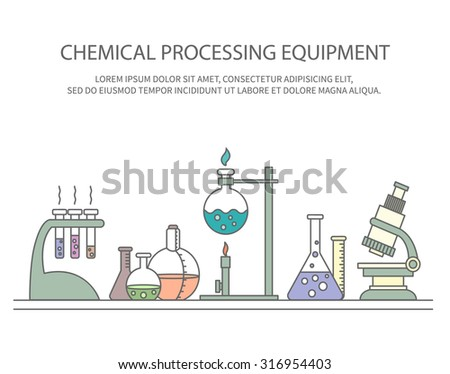 Colorful vector illustration of chemical processing equipment - Beaker, burner, test tubes, microscope, retorts - and place for text. Linear design. Concept design for chemistry, medicine, science etc