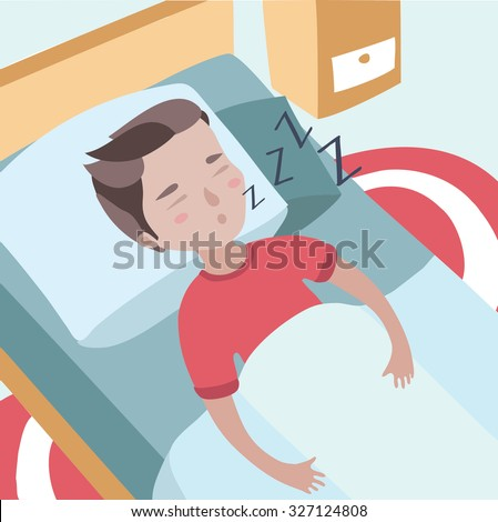 Colorful vector illustration of cute boy sleeping boy puffing in his sleep - stock vector