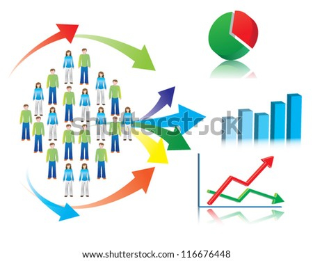 Colorful vector illustration of market research and statistics, symbolized by population (or consumers) described through charts, graphs