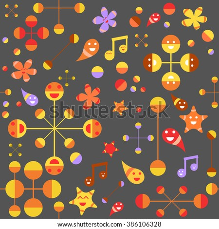 Colorful Vector Illustration Of Seamless Childish Abstract Pattern In Doodle Style. Perfect For Wallpaper, Wrapping paper, Book Cover - stock vector