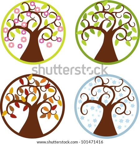 colorful vector illustration of trees in four seasons