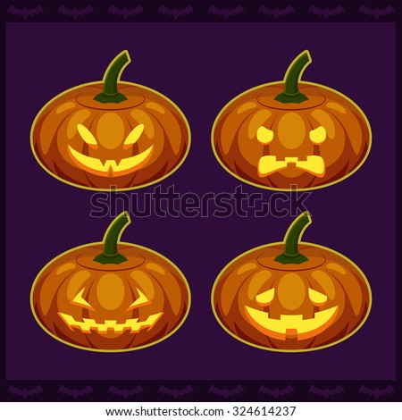 Colorful vector illustration with silhouettes of Halloween lanterns. Four type of lighting realistic pumpkins with carved faces. Horror scary icon cartoon set for party invitation card design.