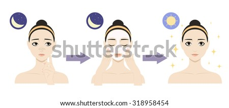 Colorful vector image illustrated steps of washing of pretty woman with comedo. Cute cartoon girl with skin problem shows the result of using care cosmetic product. Icon set for skincare infographic. - stock vector